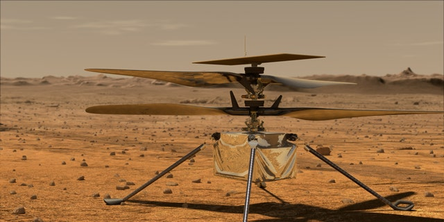 This artist's concept shows the Mars Helicopter on the Martian surface.