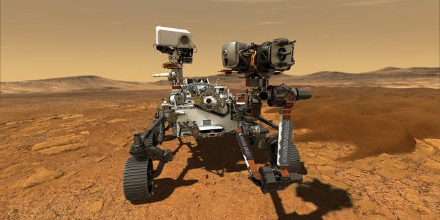 This illustration depicts NASA's Perseverance rover operating on the surface of Mars. (NASA/JPL-Caltech)
