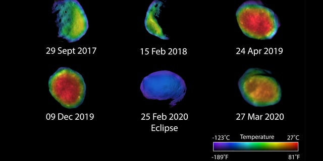 Six views of the Martian moon Phobos captured by NASA's Odyssey orbiter as of March 2020. The orbiter's THEMIS camera is used to measure temperature variations that suggest what kind of material the moon is made of. (Credit: NASA/JPL-Caltech/ASU/NAU)