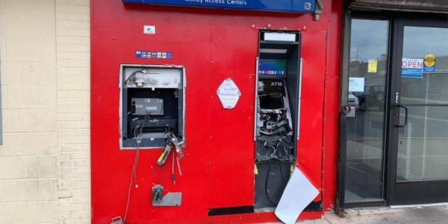 One of the damaged ATMs in Philadelphia. (Courtesy Laura Dawn Johnson/Twitter @LaurenDawnFox29)