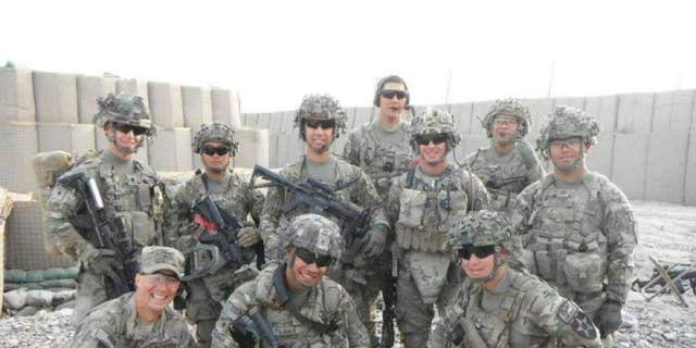 U.S. Army veteran Kyle Prellberg in Afghanistan in 2012. He is the first soldier standing on the far left.