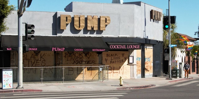 'Vanderpump Rules' main location, PUMP restaurant and bar owned by reality TV star Lisa Vanderpump, is seen with BLM messages and still boarded up after riots and protests happened after George Floyd's murder.