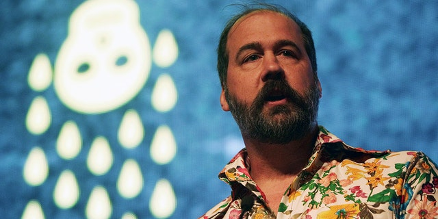 Former Nirvana bassist Krist Novoselic speaks to visitors at the premiere of the 'Nirvana: Taking Punk to the Masses' exhibit at the EMP in Seattle, Wash., on April 15, 2011.