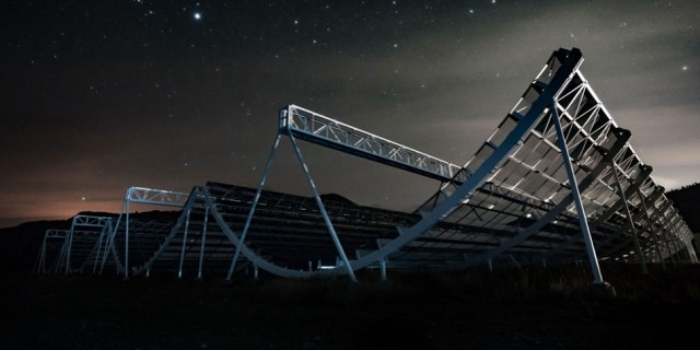 The Canadian Hydrogen Intensity Mapping Experiment (CHIME) radio telescope in British Columbia.