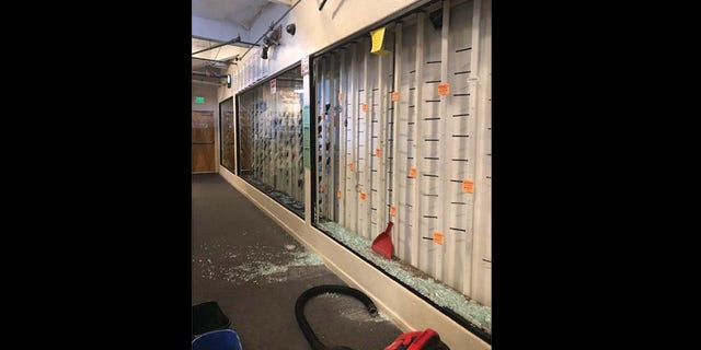 Shelves were left empty after looters stole dozens of firearms from Guns, Fishing and Other Stuff, a two-story gun and outdoor recreation store in Vacaville, Calif., on June 1. (Courtesy DOJ)