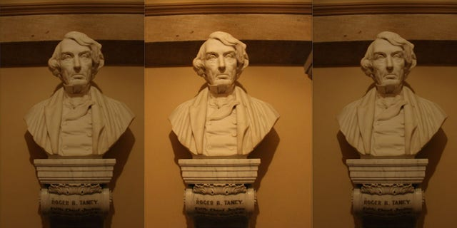 """The bust of Roger B. Taney,the chief justice of the Supreme Court who wrote the opinion in the Dred Scott case, which ruled that Blacks, free or otherwise, """"were not intended to be"""" American citizens under the Constitution.(Courtesy Architect of the Capitol.)"""