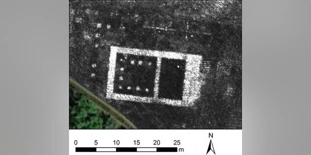 Ground Penetrating Radar map of the newly discovered temple in the Roman city of Falerii Novi, Italy.