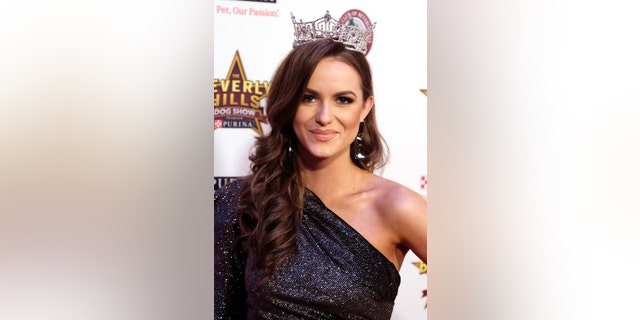 Miss America 2020 Camille Schrier attends the 2020 Beverly Hills Dog Show at the Los Angeles County Fairplex on February 29, 2020, in Pomona, California.