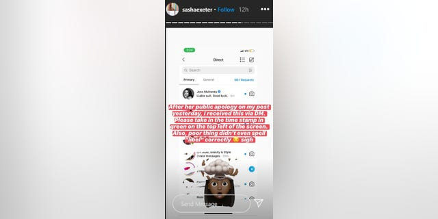 A screenshot of Sasha Exeter's Instagram messages seem to show a threat of a lawsuit from Jessica Mulroney.
