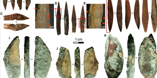 Fig. 2 Pointed bone technologies of Fa-Hien Lena. Bone projectile points (A to H) and scrapers (I to K) from Fa-Hien Lena. (A and B) Geometric bipoints, with (B) coming from phase D context 146; (C and F) hilted bipoint, red arrows indicate cut notches; (D and E) hilted unipoints, red arrows and red circle indicate wear indicating fixed hafting; (G and H) symmetrical bipoints. (Science Advances)