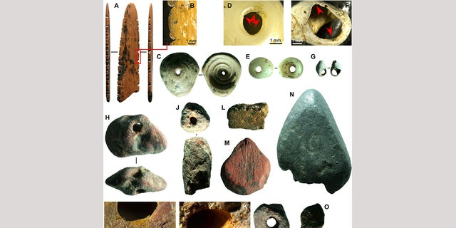 Fig. 4 Symbolic material culture of Fa-Hien Lena. (A and B) Possible decorated spatula, shuttle, or lissoir in bone; marine shell beads in (C to E) Conus spp. and (F and G) Nassariidae; ochre beads (H to K and O) and used (L) yellow, (M) red, and (N) mica colorants. (Science Advances)