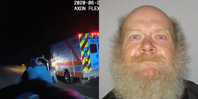 Keith Peacock, 63, was arrested Tuesday after he stole an ambulance from a hospital and was chased by police across multiple counties, authorities say.