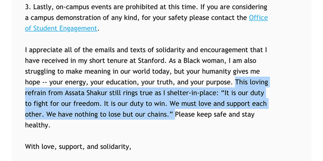 A screenshot of a June 1 email from Mona Hicks, Stanford University's senior associate vice provost and dean of students, to all students in the wake of George Floyd's death.