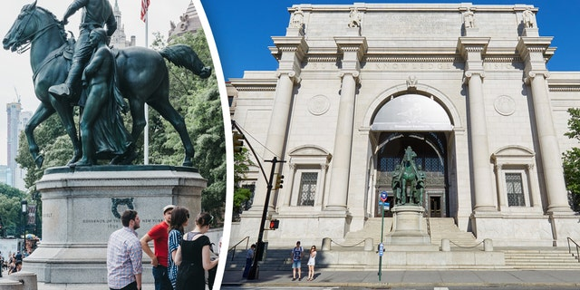 New York, USA - June 2, 2018: People next to Theodore Roosevelt statue by The American Museum of Natural History in Manhattan, New York, one of the largest museums in the world.