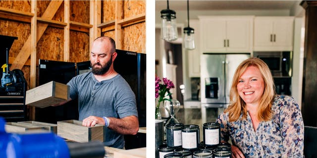 Tim Smith, left, works for R. Riveter as a product developer from his Ohio home. The 36-year-old was forced to retire as a fireman after he was diagnosed with lung cancer in 2018. His wife, Brittany, right, also works part-time for the company, helping to produce a new line of handmade candles.