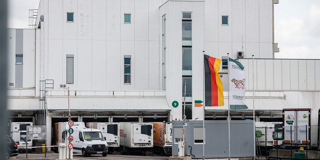 WEISSENFELS, GERMANY - MAY 14: A general view at the Toennies slaughterhouse and meat processing plant on May 14, 2020 in Weißenfels, Germany. Meat processing plants across Germany are conducting Covid-19 testing of employees nationwide following an outbreak of several hundred infections at a plant in western Germany recently. Many of the plants employ workers from eastern Europe who live in close quarters in dormitories and are hence at a higher risk of infection. (Photo by Jens Schlueter/Getty Images)