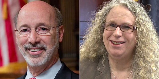 Pennsylvania Gov. Tom Wolf, left, lashed out this week after Health Secretary Rachel Levine was mocked at a weekend fair in Columbia County.