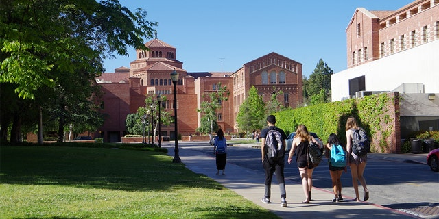 A group of students on the campus of University of California Los Angeles