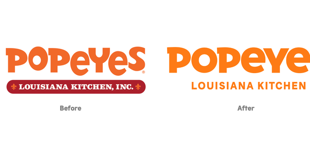 """The """"more matured logo,"""" ditches the iconic red """"Louisiana Kitchen, Inc."""" lettering at the bottom and has uniform spacing between characters."""