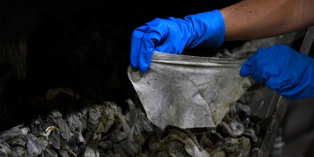 """In this May 28, 2020, file photo Lyn Riggins, WSSC Water spokesperson, holds up a wipe that was collected along with other debris at a pumping station in Washington. Sewer systems are battling the """"wipe monster"""" from all the wipes and other debris since pandemic that are clogging up pumping stations. (AP Photo/Susan Walsh)"""