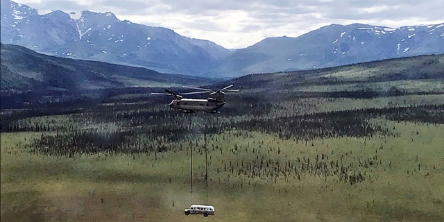 The U.S. Army removed the bus via helicopter from a trail outside Denali National Park.