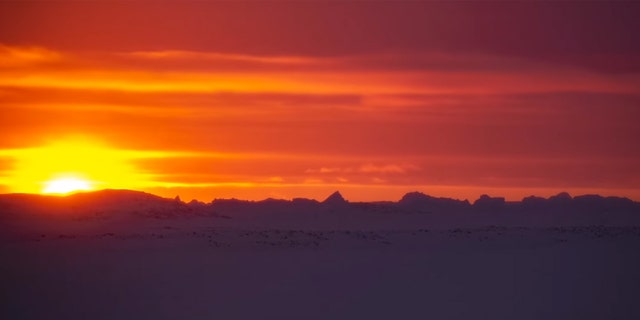 The sun sets for the last time in five weeks near the Davis research station in Antarctica on June 2.