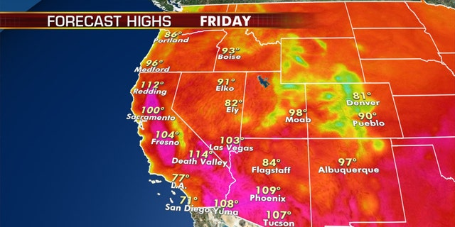 Hot weather is expected again out West on Friday.