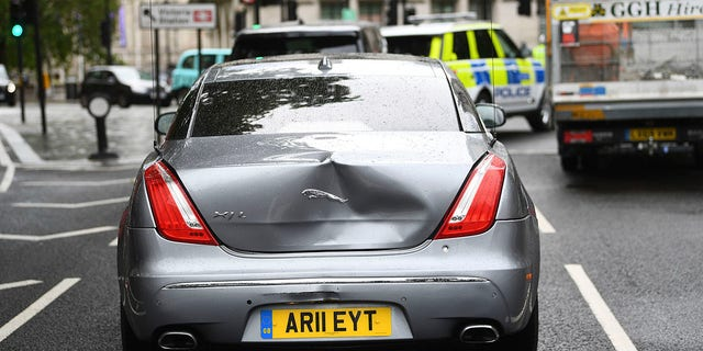 Damage to Britain's Prime Minister Boris Johnson's car after a man ran in front of it as it left the Houses of Parliament in London on Wednesday. The prime minister's office confirmed Johnson was in the car and that there were no reports of any injuries. (Victoria Jones/PA via AP)