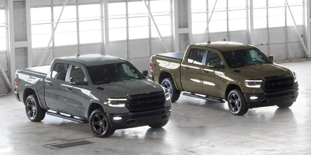 The Ceramic Gray and Gator green trucks represent the Navy and Army, respectively.