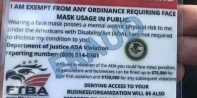 The Justice Department issued a warning about fraudulent postings, cards, or flyers online claiming to exempt people from wearing masks.