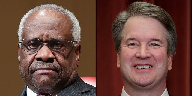 """Supreme Court Justices Brett Kavanaugh and Clarence Thomas joined forces on a dissent Monday charging their Supreme Court colleagues with a """"decade-long failure to protect the Second Amendment."""" (AP)"""