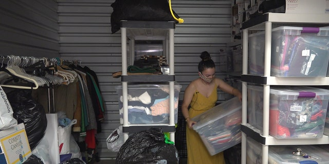 Reseller Michelle Perez started renting a storage unit to hold all the clothes donated to her during the coronavirus.
