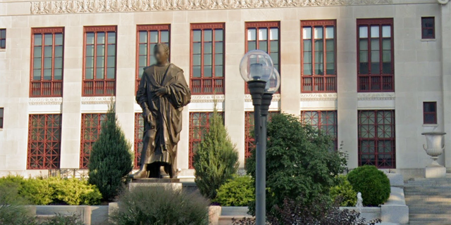 The Christopher Columbus statue in front of Columbus' City Hall was donated by the city of Genoa, Italy, in 1955.