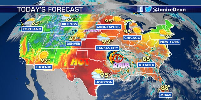 The forecast across the U.S. on June 8, 2020.