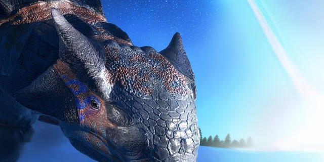 Ankylosaurus magniventris drinking as the asteroid strikes. (Credit: Fabio Manucci)