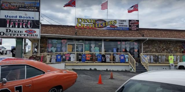 The exchange took place on Sunday as Black Lives Matter protesters gathered outside a Branson Dixie Outfitters store, which specializes in Confederate flags