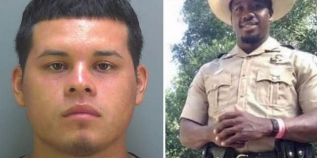 PICTURE: Eliceo Hernandez, left, is charged in the death of Florida wildlife officer Julian Keen.