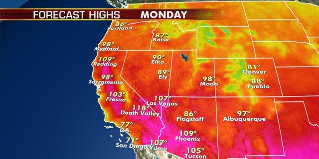 Dangerous heat will return across the West on Monday.