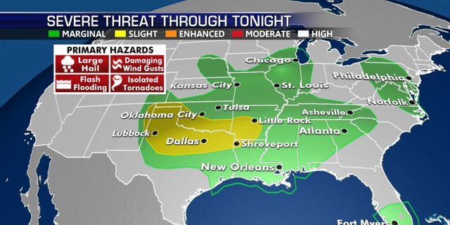 The greatest threat for severe weather on Monday will be across the Southern Plains. There are three areas of the country under the risk of severe weather on Monday.
