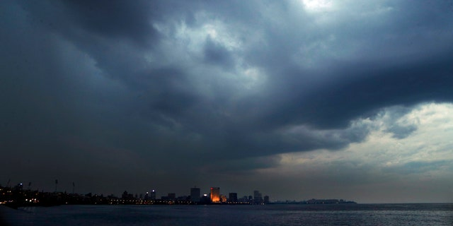 Dark clouds hang over the city ahead of cyclone Nisarga making landfall in Mumbai, India, June 2.
