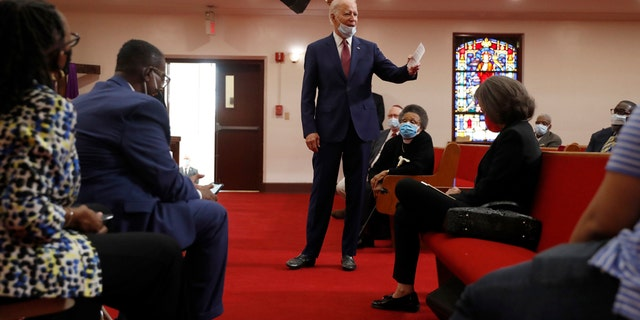 Democratic presidential candidate, former Vice President Joe Biden speaks to members of the clergy and community leaders at Bethel AME Church in Wilmington, Del., Monday, June 1, 2020. (AP Photo/Andrew Harnik)
