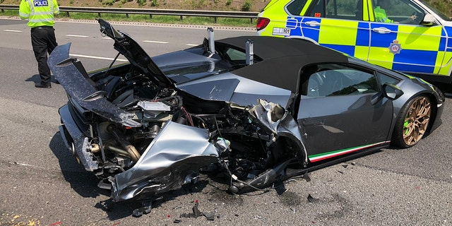 Glistening new Lamborghini smashed 20 minutes after leaving showroom