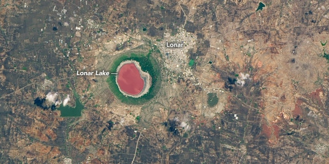 Westlake Legal Group lonar-lake-2-NASA India crater lake that's up to 50,000 years old just mysteriously turned pink Travis Fedschun fox-news/world/world-regions/india fox-news/world/world-regions/asia fox-news/weather fox-news/science/planet-earth/natural-disasters fox-news/science/planet-earth fox-news/odd-news fox news fnc/science fnc article 952975da-161a-5564-a7a3-cf6d76939bc3