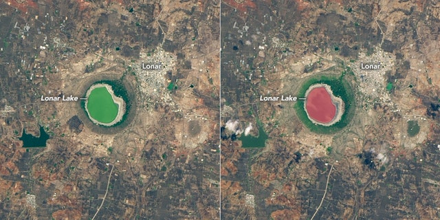 Lonar Lake's color shift occurred over the span of a few days.