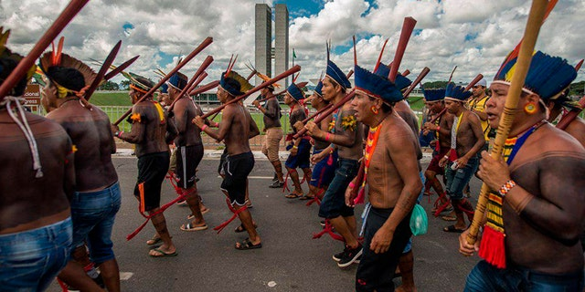 Indigenous from various tribes protest in Brasilia against the government policies regarding their rights.