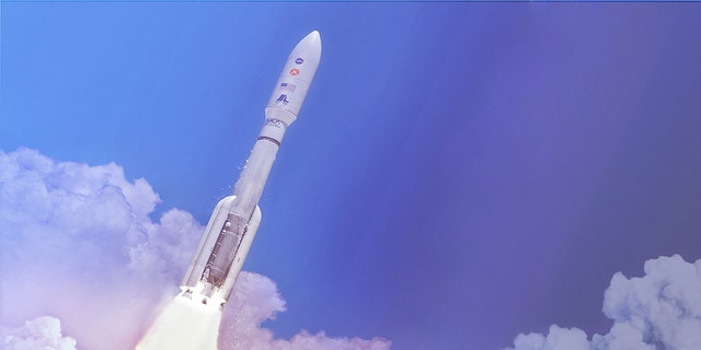 In this artist's concept a two-stage United Launch Alliance Atlas V launch vehicle speeds the Mars 2020 spacecraft toward the Red Planet. This will be NASA's fifth Mars launch on an Atlas V which stands at 197 feet tall. (Credit NASA  JPL-Ca