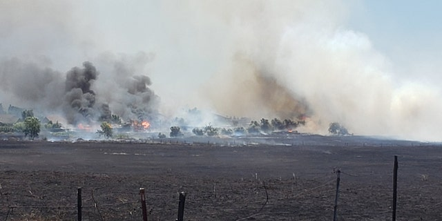 The Nelson Fire in Butte County, California destroyed three homes and scorched some 95 acres on Wednesday.