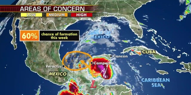 An area of disturbed weather of Mexico's Yucatan Peninsula is likely to develop into a tropical depression in the next two days.