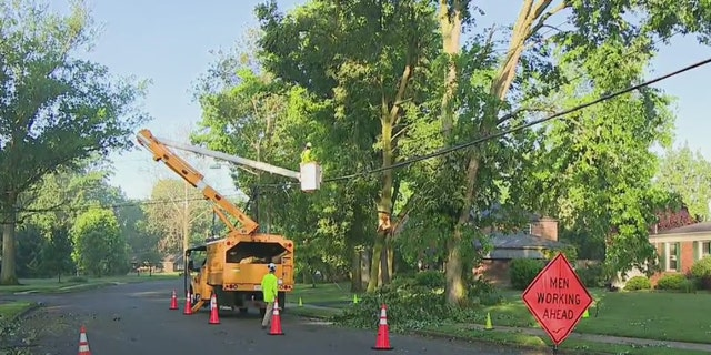 Crews work to restore power in New Jersey after severe thunderstorms on Wednesday.