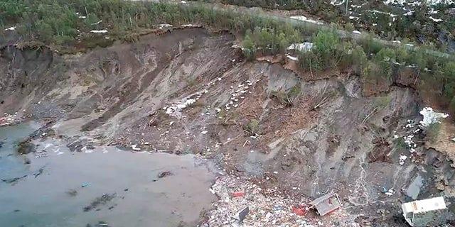 The aftermath of a powerful landslide near Alta, Arctic Norway. (Anders Bjordal via AP)
